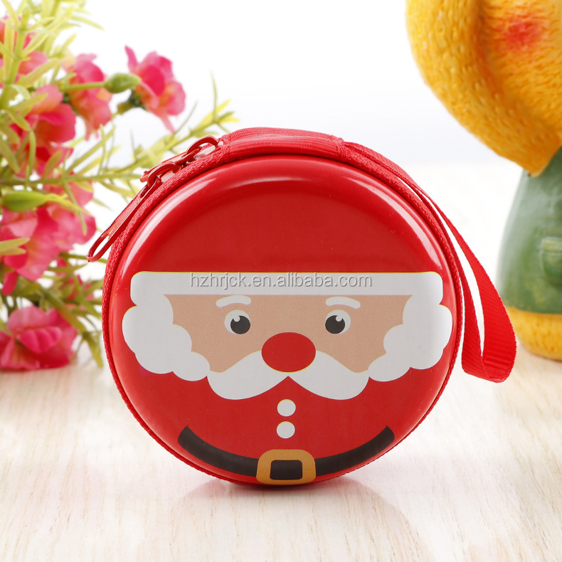 New Christmas Santa Claus Round Gift Boxes Xmas Gift Zipper Coin Purse Key Wallet Pouch Bag Red Hanging Decoration Top Toys