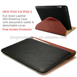 Leather 360 Rotating Wallet Smart Case Cover For iPad Mini,PU Notebook Case For iPad Mini