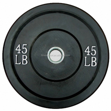 gym fitness black 45lb bumper weight plates with bevel around the edge