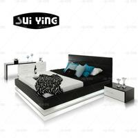 A507 wood furniture bedroom platform bed room sets with lights