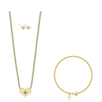 Newest Design Dainty Heart Outline on 18k Gold Filled Delicate Heart Fashion Dubai Gold Jewelry Set