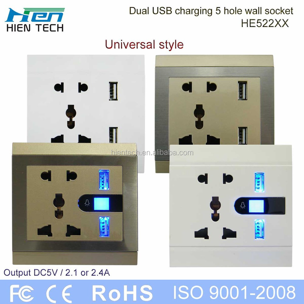 USB power surface mount electrical outlet double USB wall socket 5V2.1A and 5V2.4A charging phones without chargers
