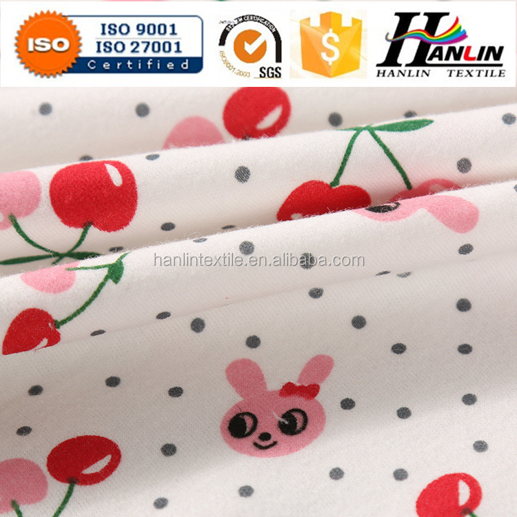 Printed Single Jersey organic cotton baby 100% cotton single jersey 160gsm