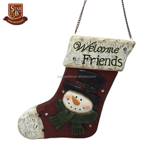 Resin large Christmas stocking light-up wall hanging decoration