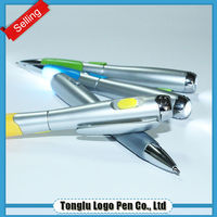 panda ball short ballpoint promotional pen with flashlight