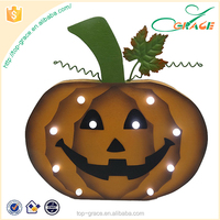 halloween decoration artificial wood pumpkin with led light