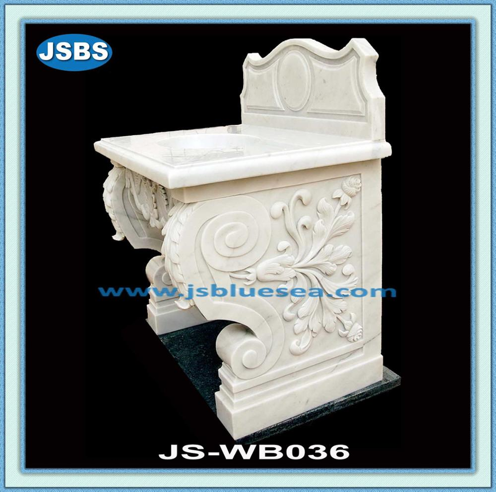 hand carved white marble deep sink for washing