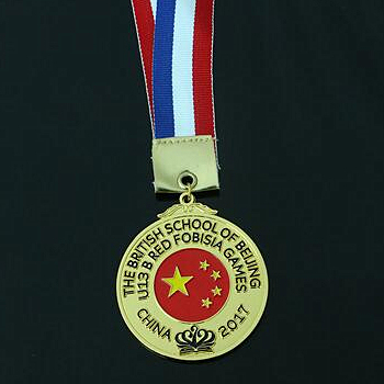 Small size flag design metal medal with ribbon