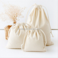 Handmade Linen Cotton Draw String Storage Bag Candy Bag Natural White Color