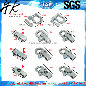 Made in China stainless steel adjustable shackle,stainless steel d shackle,survival bracelet shackle