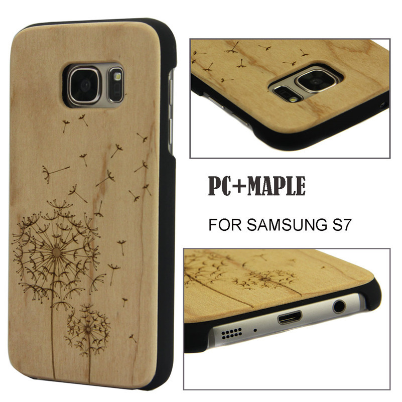 Natural Wood Carved Wooden Cell Phone Case For Samsung S7 Back Protector