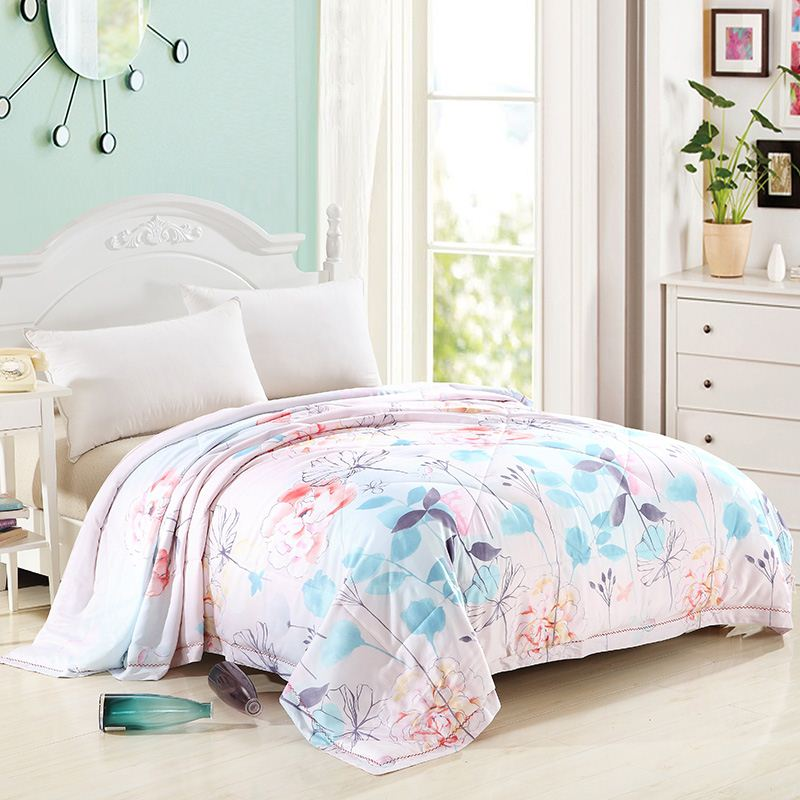Free Shipping 2016 New Home Tetile 1Pc Air Conditioning Summer Cool Quilt Printed Bedding Bed Spreads Quilt