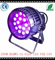 Zoom 18pcs*12W RGBWA UV 6in1 LED par can stage light