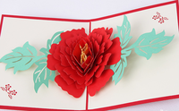 3D Greeting Card Pop Up Handmade Subshrubby Peony Flower Paper Sculpture Postcard Birthday Christmas Gift