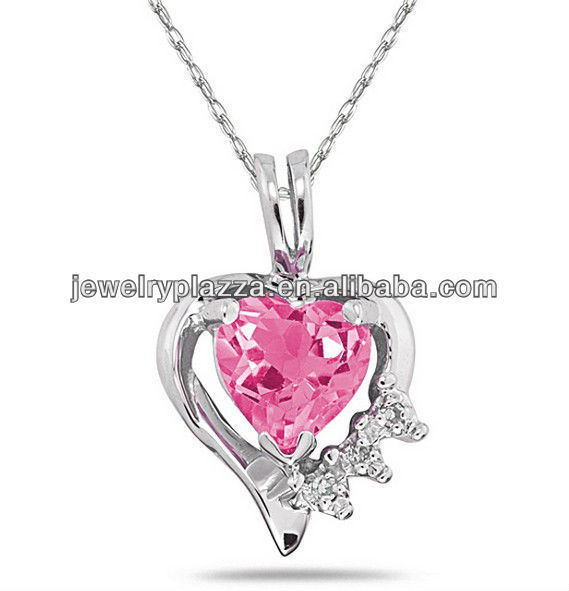 2013 Newest Design Fashion Jewelry,10k Gold Pink Topaz and Diamond Heart Necklace