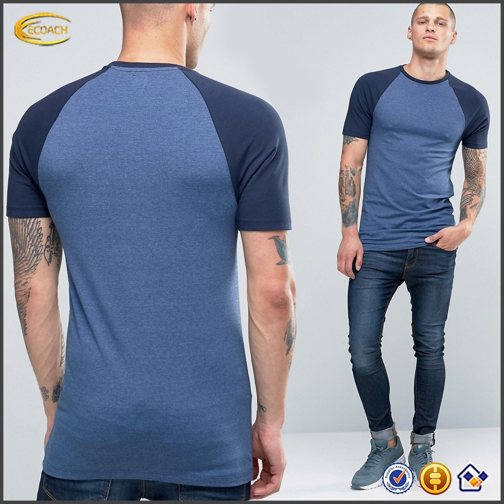 Ecoach 2016 high quality men contrast raglan short sleeve crew neck longline muscle t-shirt skinny fit blue shirts for man