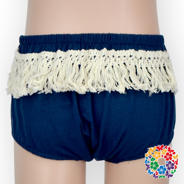 Unisex Baby Boys And Girls Solid Color Tassel Underwear Diaper Cover Navy Bloomers For Kids