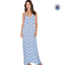 2016 Hot sell women printed deep v neckline backless sleeveless batik beach long maxi dress