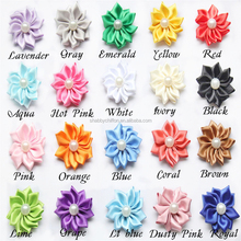 Artificial 4cm Petite Ribbon With Pearls Flower,Pearls Ribbon Flower DIY Hair Decoration