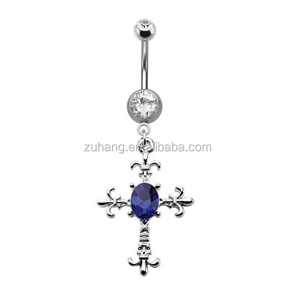 316L Surgical Steel Body Piercing Jewelry Navel Bar Jeweled Cross Dangle Belly Button Ring