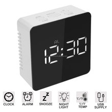 Amazon Top Seller 2018 Digital Sunrise Alarm Clock LED Display Mirror Clock For Home Decor