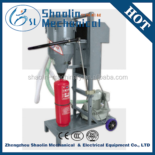 High accuracy dry power fire extinguisher filler with low consumption