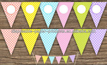Easter Banners - Big and Mini Cake. Polka Dot & Gingham. Pastel Colors: Pink, Blue, Green, Yellow, Coral, Violet.