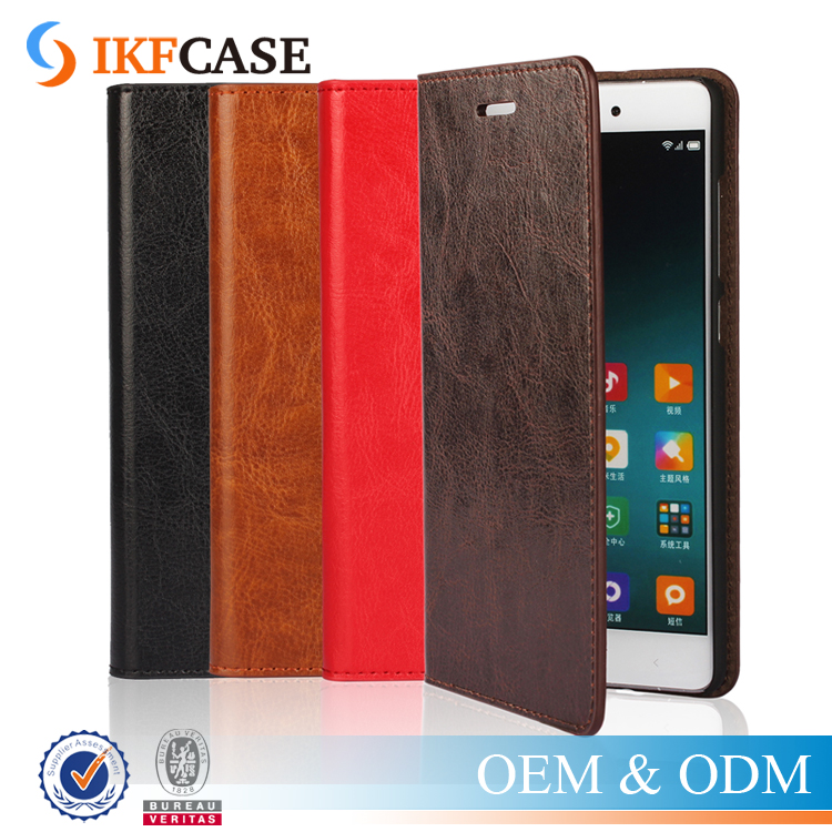Luxury Crazy Horse Grained Oil PU Leather Wallet Case with Card Holder Stand Function For Xiaomi Note