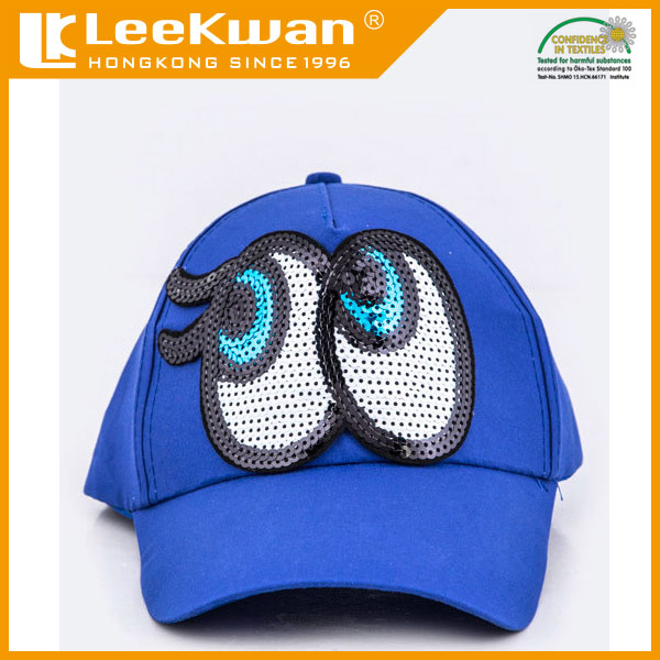 Eyes sequin embroidered applique with adhesive backing for hat