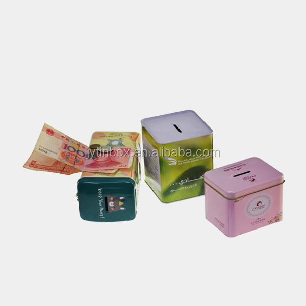 coin bank tin box with lock and key