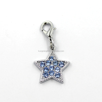 21MM Zinc Alloy Five-pointed Star With Sky-blue Crystal Diamond Pendant Wholesales