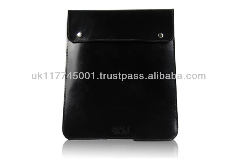 ANU W660 English Bridle Leather Case Sleeve for iPad [All models] - Black - Handmade in England