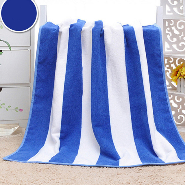 Wholesale blue and white soft cotton terry stripe bathing children towel
