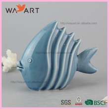 Elegant Blue Stripe Fish Design Ceramic Strong French Strong Strong