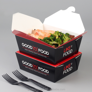 Take Out Rectangle Paper Chinese Noodle Lunch Box For Wholesale