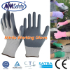 NMSAFETY grey smooth nitrile coated hand safety gloves