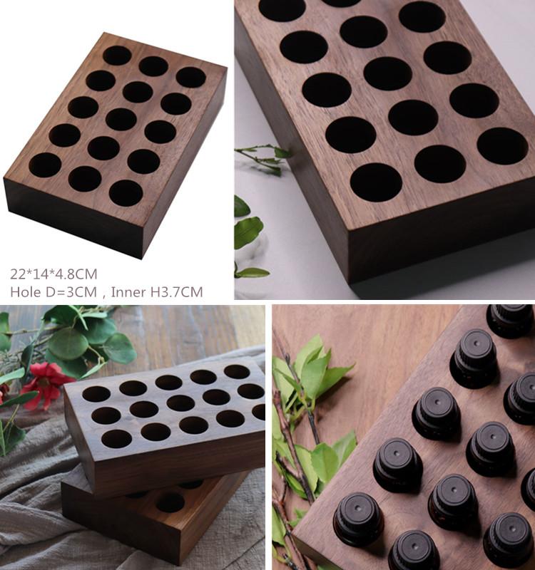 Walnut color solid wood 15 bottles essential oil bottle display holder stand