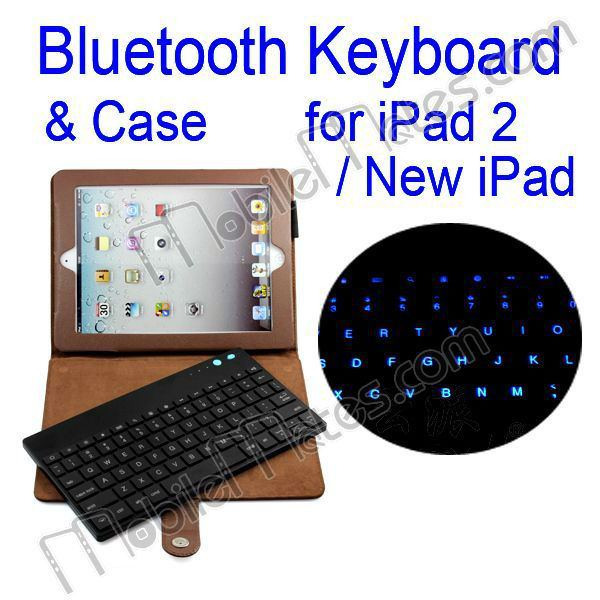 Detachable LED Backlit Bluetooth Keyboard & Lichee Texture Leather Case with Kickstand for iPad2/New iPad/iPad4