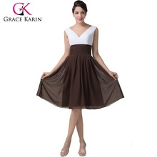 Grace Karin 2015 Newest Sleeveless V-Neck Coffee Chiffon Mother Of The Groom Dresses CL6249