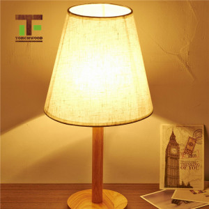high quality round wooden base mushroom table lamp