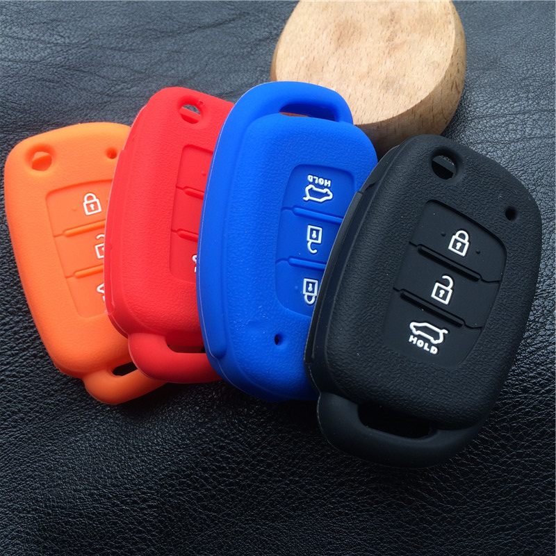 Silicone rubber car key case cover for HYUNDAI Accent I30 I40 I45 IX35 Mistra Santa Fe Sonata Tucson Verna 3button key case