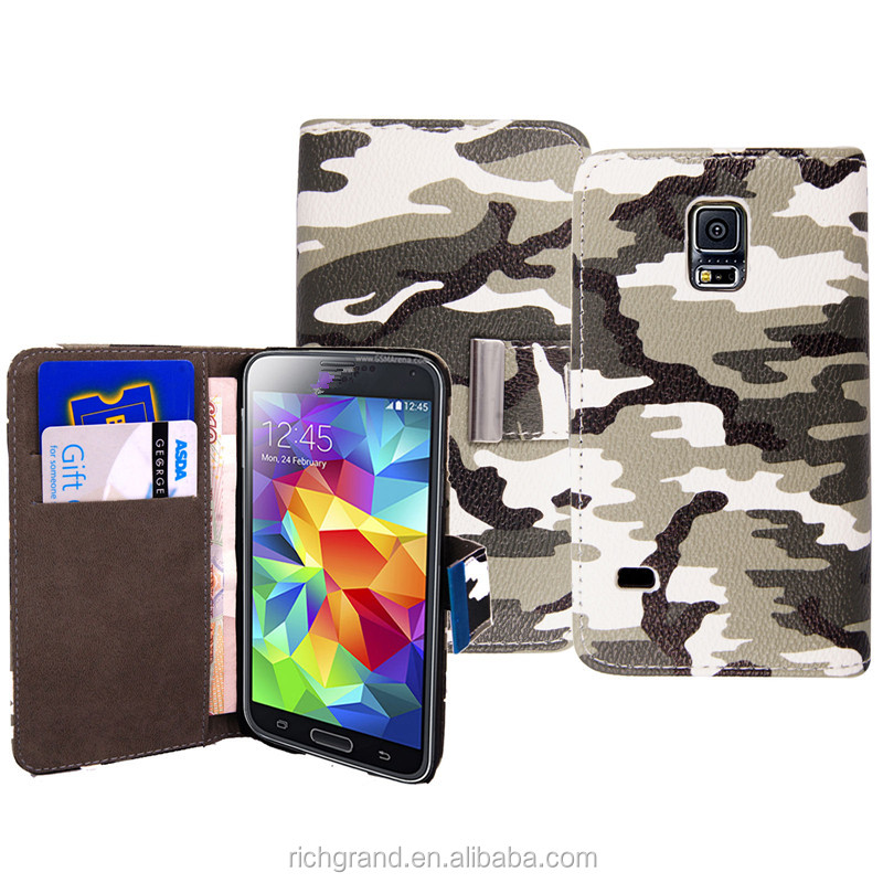 Camouflage Wallet Flip Leather Case Cover For Samsung Galaxy S3 / S5 For Apple iphones For Various mobile phones