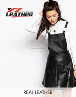leather contrast color dress design for young ladies
