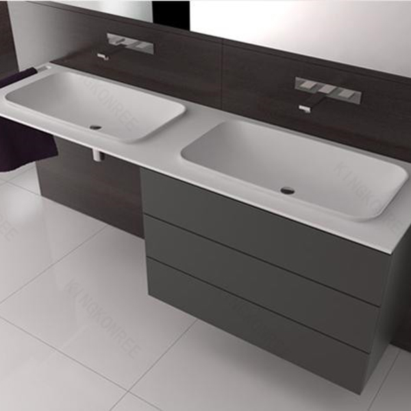 Custom made solid surface double sink bathroom vanity top