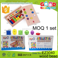 Qualified Wholesale 24pcs Mixed Shape Child Intelligent DIY Beads Toys Educational Wood Bead for Kids