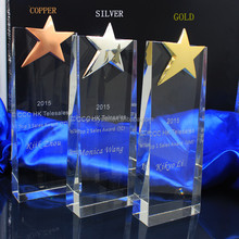 cheap simple clear metal star crystal award trophy