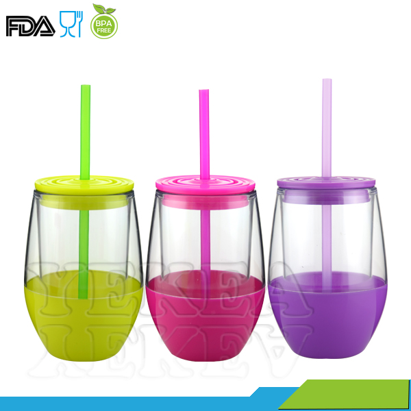 300 ml insulated plastic wine glass tumbler drinking cup with drink-through lid and straw