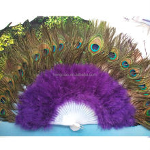 Good quality Dance cheap Peacock feather fan