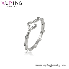15007 Xuping hot sale simple custom ladies jewelry cross shaped rhodium finger ring