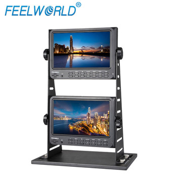 7 inch x 2 Dual LCD Displays 1024x600 Pixels On-camera Field HD Video Jib Monitor for CCTV